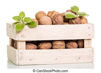 Walnuts in wooden box isolated on white background.