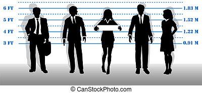 Wanted business people lineup mugshot