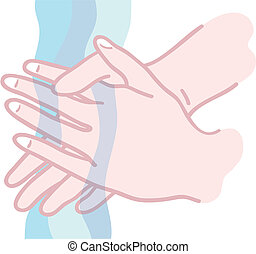 Illustration of hands being washed under running water