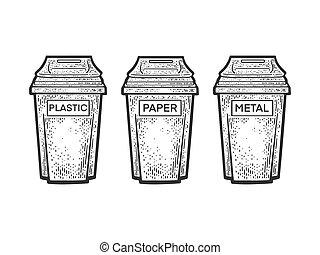 Waste sorting garbage bins trash cans sketch engraving vector illustration. T-shirt apparel print design. Scratch board imitation. Black and white hand drawn image.