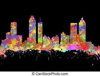 Watercolor art print of the skyline of Atlanta Georgia USA