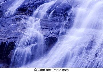 Waterfall in japanese garden, blue tone.