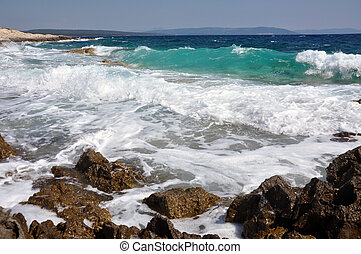 Sea waves crushing the shoreline, beautiful wild seascape