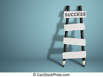 way to success concept, pencil Ladder with blank stairs, copy space