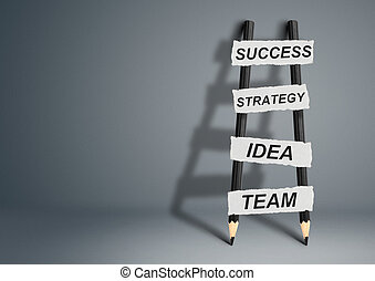 way to success concept, pencil Ladder with copy space