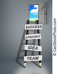 way to success creative concept, pencil Ladder with copy space
