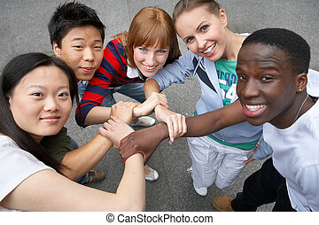 young people of different ethnic groups on the street
