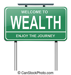 Illustration depicting a green roadsign with a wealth concept. White background.