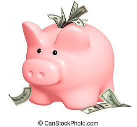 Piggy bank and dollars banknotes. Isolated over white