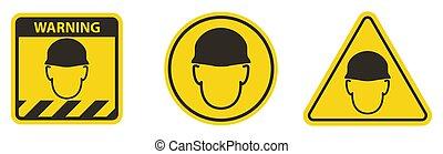 Wear helmet Sign symbol Isolate On White Backgroun