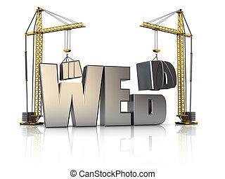 3d illustration of cranes building web sign, over white background