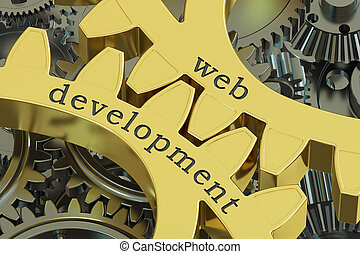 web development concept on the gearwheels, 3D rendering