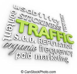 Web Traffic 3D Word Collage Online Reputation Website Visitors