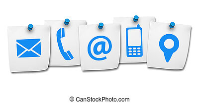 Website and Internet contact us page concept with icon on five paper post it isolated on white background.