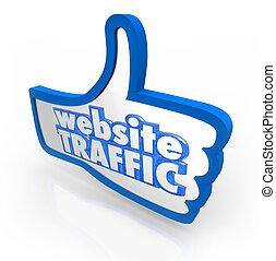 Website Traffic Thumb Up Increase Visitors Online Reputation