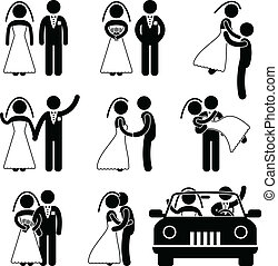 A set of pictogram about wedding and marriage.