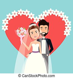 wedding ceremony bride and groom together with heart flower decoration