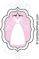 wedding dress in frame, vector