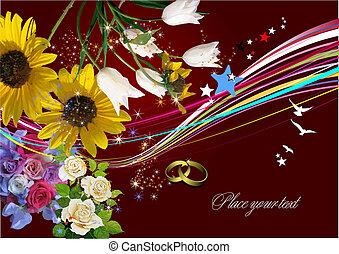 Wedding Greeting Card. Vector illustration. Invitation card