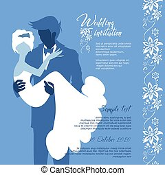 Wedding invitation vector card. bride and groom, graphic for design