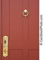 Beautiful burgundy door closeup