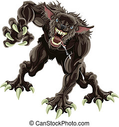 A fearsome werewolf monster attacking the viewer
