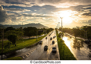 Wet Sunset Highway