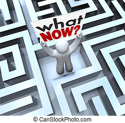 The words What Now asking the question for help or directions by a person lost in a mze and needing help to find the way out of a bad situation, stalled career, or other problem