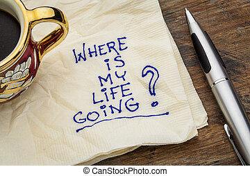 where is my life going - an essential question or searching for purpose - a napkin doodle with a cup of espresso coffee