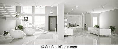 White apartment interior panorama 3d