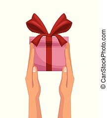 white background with colorful hands holding a gift