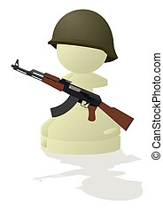 Chessmen styled soldiers and military equipment. Illustration on a white background