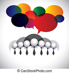 white collar employees communication, interaction - concept vector. The graphic also shows people conference, social media network, executives & management, company board members, corporate people