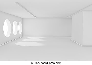 Abstract 3d white empty room with sunlight
