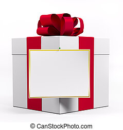 White gift box with red ribbon and blank sheet of paper 3d