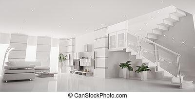 White modern apartment interior panorama 3d render
