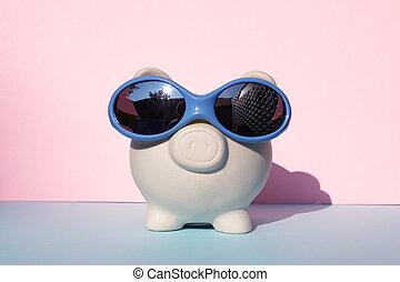 White moneybox pig