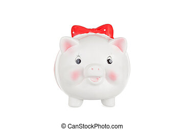 White pig moneybox isolated on a white background