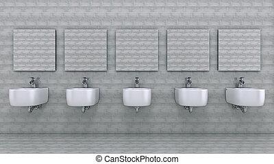 White toilet bowl in a bathroom. 3d rendering