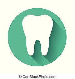 White Tooth icon isolated with long shadow. Tooth symbol for dentistry clinic or dentist medical center and toothpaste package. Green circle button. Vector Illustration