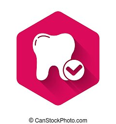 White Tooth whitening concept icon isolated with long shadow. Tooth symbol for dentistry clinic or dentist medical center. Pink hexagon button. Vector