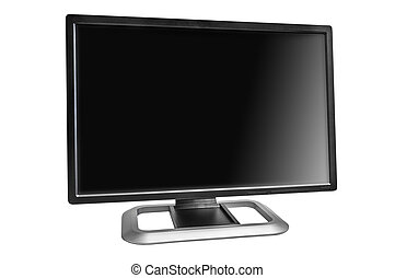 Wide LCD computer monitor isolated on white