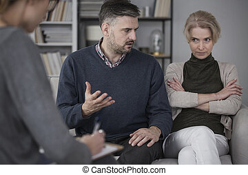 Wife and husband on therapy