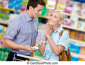 Wife asks husband to buy cosmetics for her