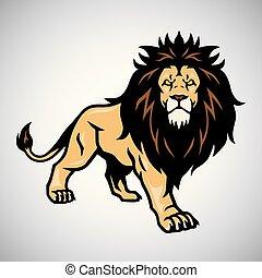 Wild Lion Standing. Vector Illustration