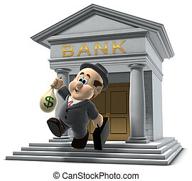 "3D illustration of ""Wilfred"" emerging from a bank with a sack of money isolated on a white background"