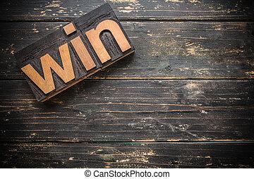 Win Concept Vintage Wooden Letterpress Type Word