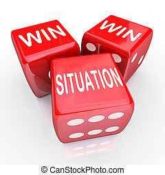 Win Win Situation words on three red dice as an agreement or arrangement that is mutually beneficial for both or all parties in a negotiation