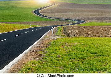 Winding long road