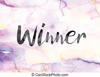 Winner Colorful Watercolor and Ink Word Art